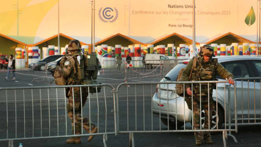 Security measures are seen during final preparations for the COP21, Paris Climate Conference site on November 26, 2015 in Le Bourget, France.