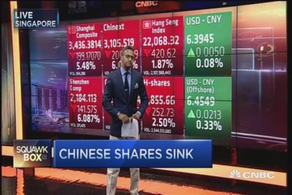China stocks tank