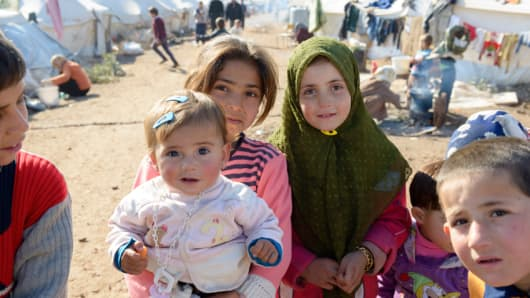 Internally displaced Syrians at a refugee camp near the Turkish border in Atmeh (Qatma), Syria