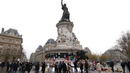 A memorial at the Place de la Republique square in Paris