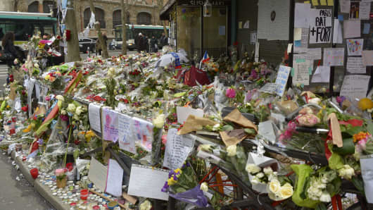 A tribute to victims of the Paris terror attacks outside the 'La Belle Equipe' cafe