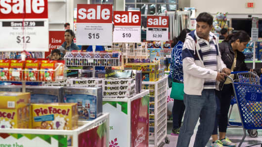 A man shopping in a Toys-R-Us store in Fairfax, Virginia.