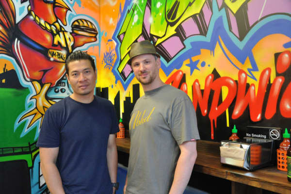Ratha Chaupoly, left, and Ben Daitz, chefs and co-founders, Num Pang