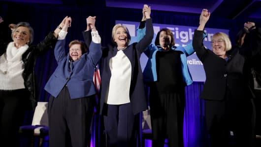 "Hillary Clinton (C) raises her arms while joining 13 female senators for a ""Women for Hillary"" endorsement event and fundraiser in Washington November 30, 2015. With her are (from left): Senators Barbara Boxer (D-CA), Barbara Mikulski (D-MD), Dianne Feinstein (D-CA) and Patty Murray (D-WA)."