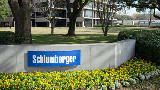 The exterior of a Schlumberger Corporation building in West Houston, Texas.