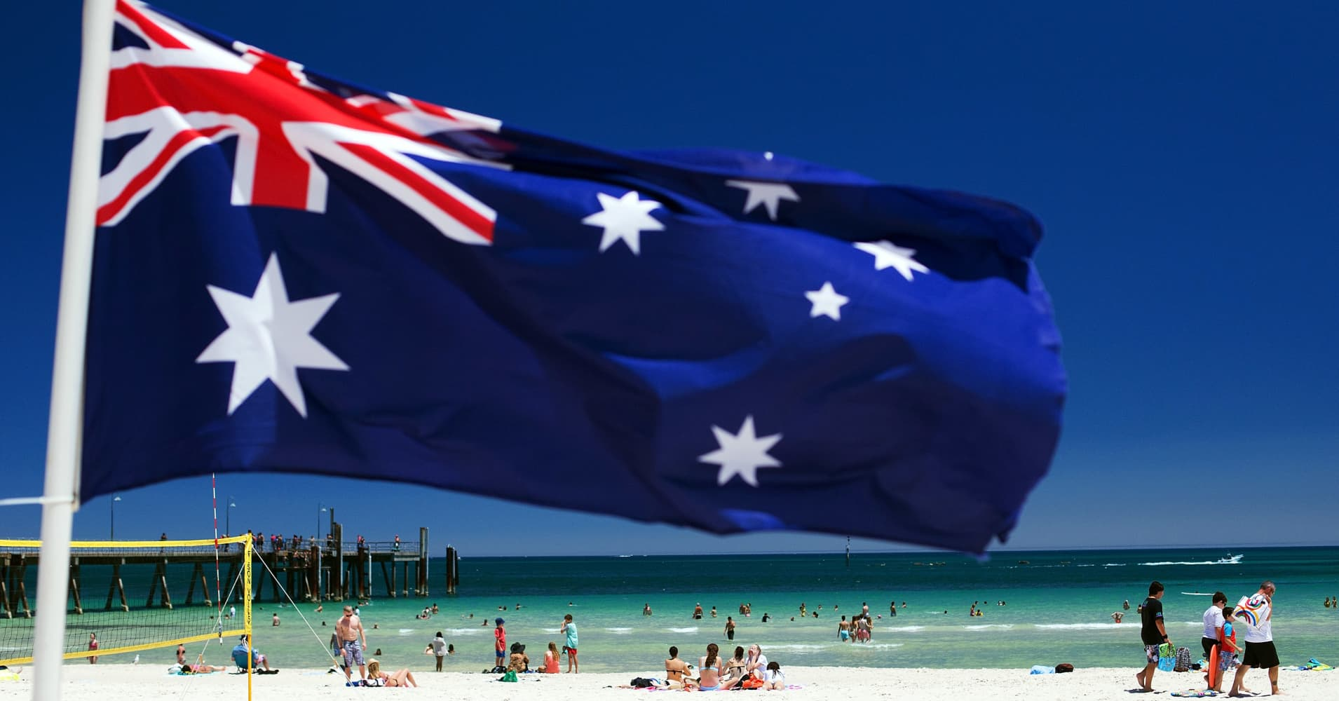 Flag of Australia on a beach