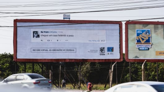 "Billboard from the ""Virtual Racism. The consequences are real"" campaign"