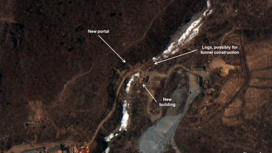 APRIL 9th, 2015: New Nuclear Test Tunnel Under Construction at North Koreas Punggye-ri. Figure 2. Construction related to a new portal at North Koreas nuclear test site.