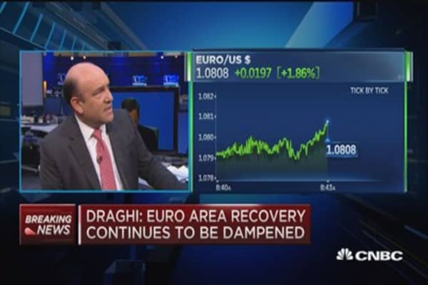 Euro climbs above $1.08 as Draghi speaks