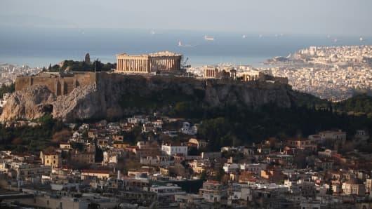 A view of the acropolis in Athens