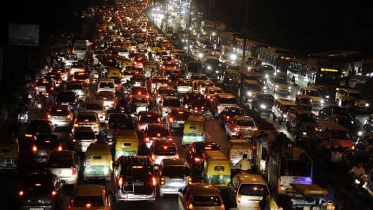 Traffic Jam near ITO during the Chhath festival, on November 17, 2015 in New Delhi, India.