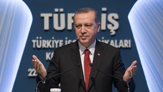 Turkish President Recep Tayyip Erdogan delivers a speech in Ankara, Turkey on December 3, 2015.
