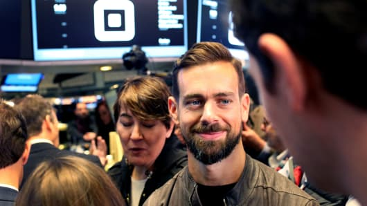 Jack Dorsey, chief executive officer of Square on the floor of the New York Stock Exchange at the company's IPO, November 19, 2015.
