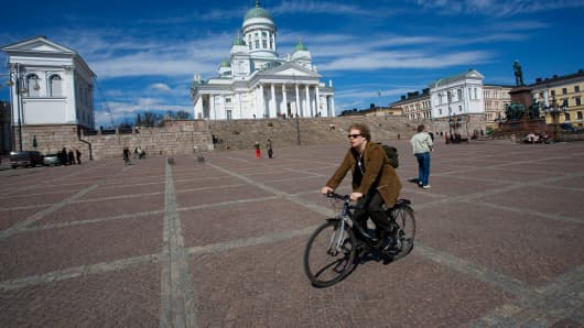 Senat Square in Helsinki, Finland.