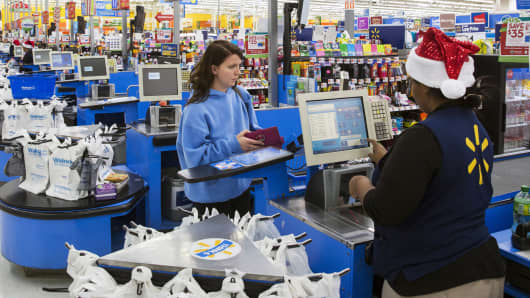 A shopper at a Wal-Mart store in Secaucus, New Jersey.