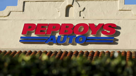 A Pep Boys auto parts store is shown in Encinitas, California.