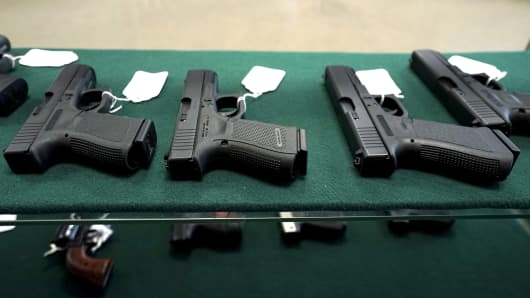 A selection of Glock pistols are seen for sale at the Pony Express Firearms shop in Parker, Colorado.
