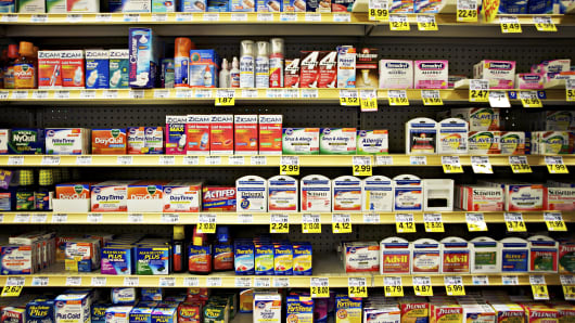 Cold and allergy medicine display in a drug store.