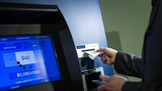 BitCoin ATM is used for a transaction.