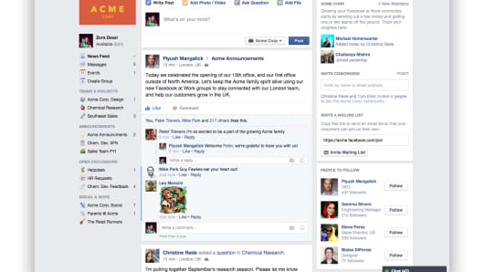 View of Facebook home page.