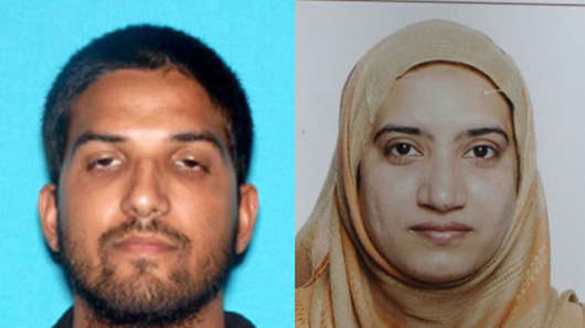 FBI released photos of the San Bernardino mass shooters Syed Rizwan Farook and Tashfeen Malik.