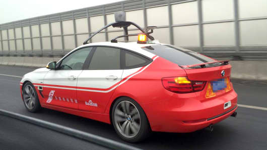 Baidu's self-driving car during a test in December 2015.