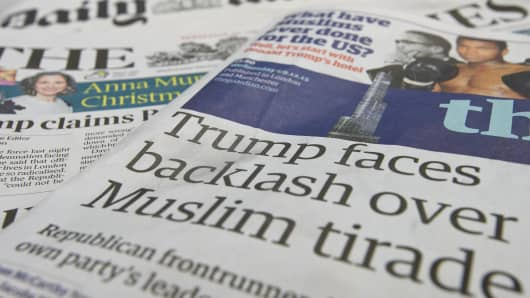 A general view of the front pages of British national newspapers on December 9, 2015 in London, England. The British press reacted to comments by Republican Presidential candidate, Donald Trump, that the Metropolitan Police are scared to patrol certain Mus