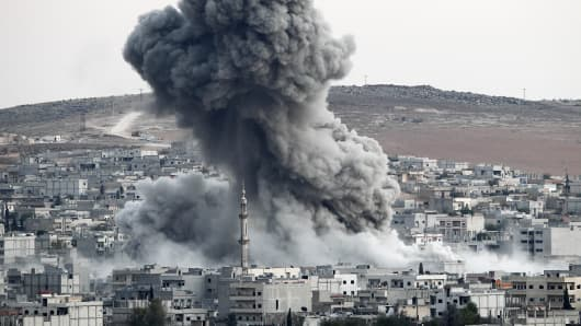 Heavy smoke rises following an airstrike by the US-led coalition aircraft in Kobani, Syria. (File Photo).