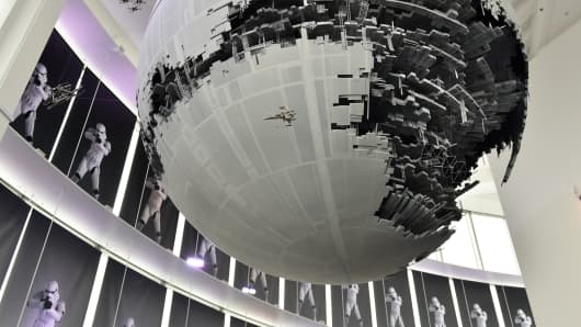 A model of the Death Star is displayed at the preview of the 'Star Wars Vision' exhibition in Tokyo on April 28, 2015.