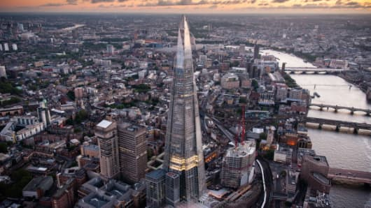 An aerial view of the Shard on June 28, 2012 in London, England.