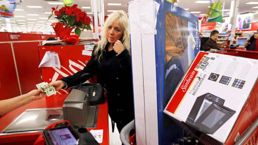 A customer pays for her purchases at a Target store in Chicago.