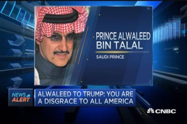 Saudi Prince Alwaleed to Trump: You're a disgrace