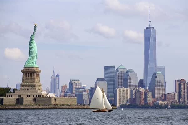 Statue of Liberty and New York City skyline.