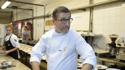 One of the owners of Spanish restaurant 'El Celler de Can Roca', chef Joan Roca is seen at the kitchen of the Terrazas Bistro restaurant during a dinner of 'The Cooking Tour Experience 2015' in Buenos Aires on August 6, 2015.