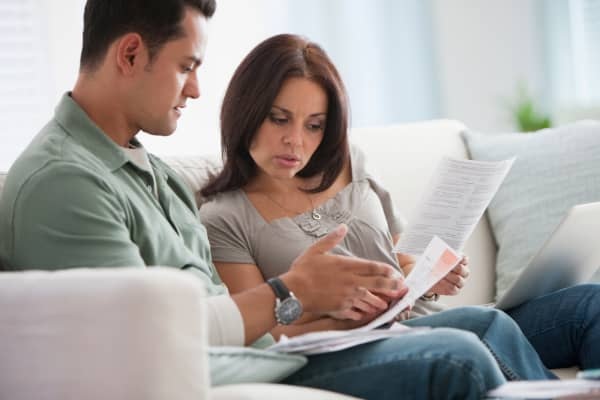 Couple with financial papers