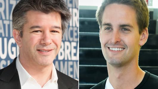 Uber's Travis Kalanick and Snapchat's Evan Spiegel