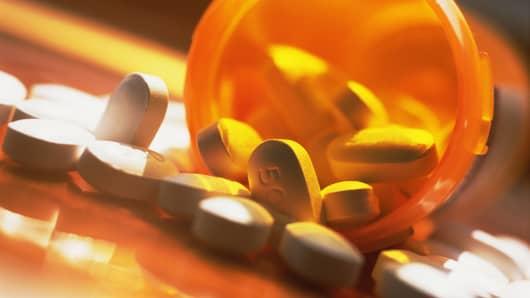 Pills spilled over in bottle