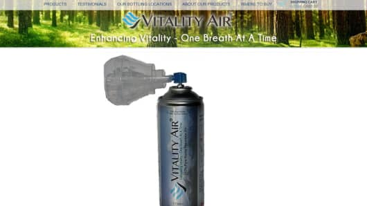 Alberta-based Vitality Air sells this 7.7 litre can of Banff air for $23 Canadian dollars ($16.80).