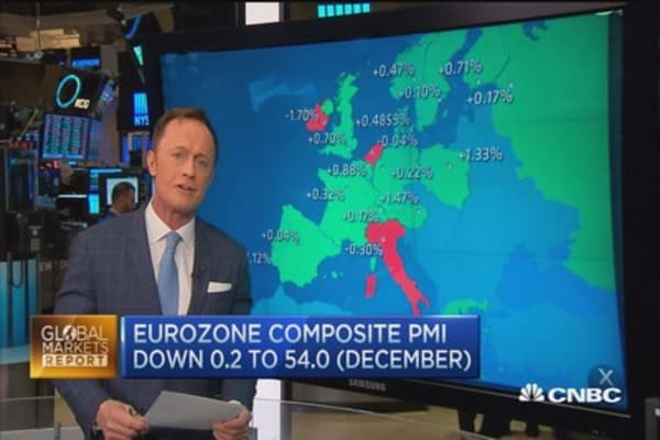 Euro zone composite PMI down for December