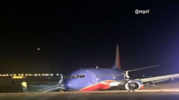 Plane rolls off runway at Nashville International Airport