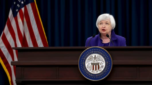 Federal Reserve Chairman Janet Yellen holds a news conference in Washington December 16, 2015.