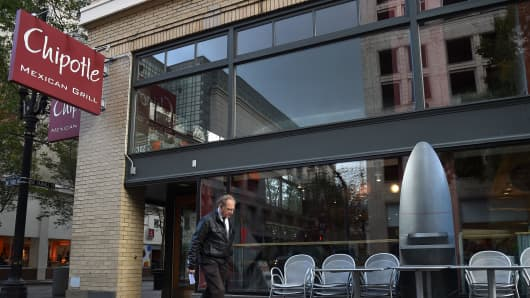 A person walks past a Chipotle Mexican Grill store location in downtown Portland on November 3, 2015 in Portland, Oregon.