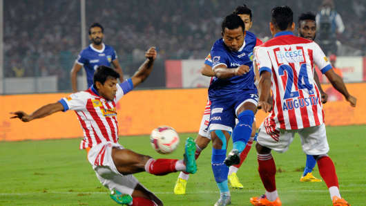 Jeja Lalpekhlua of Chennaiyin FC in action against Atletico De Kolkata during their ISL semi-final match on December 16, 2015.