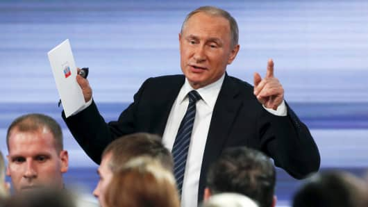 Russian President Vladimir Putin at his annual end-of-year news conference in Moscow, December 17, 2015.