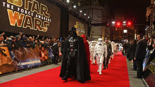 "Darth Vader leads the Stormtroopers down the red carpet at the European premiere of ""Star Wars: The Force Awakens"" in Leicester Square on Dec. 16, 2015 in London."