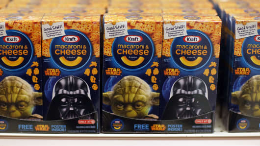 Boxes of Star Wars Kraft Macaroni & Cheese for sale at a Target store.