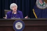 Federal Reserve Bank Chair Janet Yellen holds a news conference where she announced that the Fed will raise its benchmark interest rate for the first time since 2008 at the bank's Wilson Conference Center December 16, 2015 in Washington, DC.