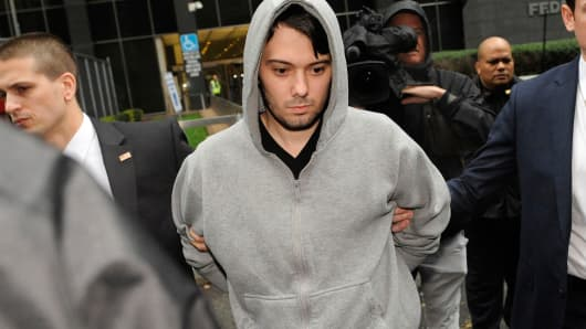 Martin Shkreli, chief executive officer of Turing Pharmaceuticals LLC, exits federal court in New York, on Thursday, Dec. 17, 2015.