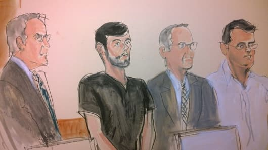 A courtroom sketch of Martin Shkreli as he was indicted on Dec. 17, 2015.