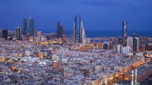 Manama, the modern capital of the Arabian Gulf island nation of Bahrain